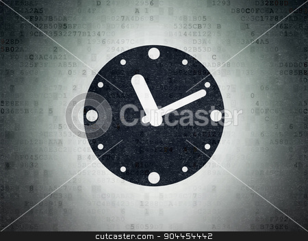 Time concept: Clock on Digital Paper background stock photo, Time concept: Painted black Clock icon on Digital Paper background by mkabakov