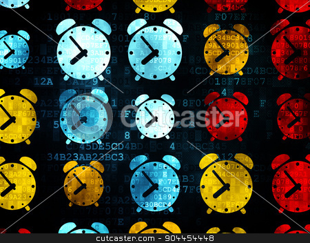 Time concept: Alarm Clock icons on Digital background stock photo, Time concept: Pixelated multicolor Alarm Clock icons on Digital background, 3d render by mkabakov