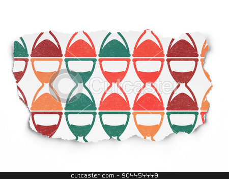 Timeline concept: Hourglass icons on Torn Paper background stock photo, Timeline concept: Painted multicolor Hourglass icons on Torn Paper background, 3d render by mkabakov