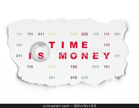 Time concept: Time Is money on Torn Paper background stock photo, Time concept: Painted red text Time Is money on Torn Paper background with  Binary Code, 3d render by mkabakov