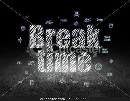 Time concept: Break Time in grunge dark room stock photo, Time concept: Glowing text Break Time,  Hand Drawing Time Icons in grunge dark room with Dirty Floor, black background by mkabakov