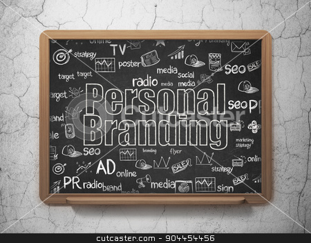 Advertising concept: Personal Branding on School Board background stock photo, Advertising concept: Chalk White text Personal Branding on School Board background with  Hand Drawn Marketing Icons, 3d render by mkabakov