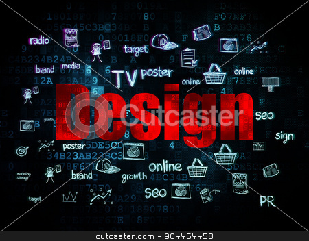 Advertising concept: Design on Digital background stock photo, Advertising concept: Pixelated red text Design on Digital background with  Hand Drawn Marketing Icons, 3d render by mkabakov