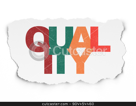 Marketing concept: Quality on Torn Paper background stock photo, Marketing concept: Painted multicolor text Quality on Torn Paper background, 3d render by mkabakov