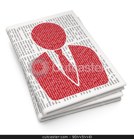 Advertising concept: Business Man on Newspaper background stock photo, Advertising concept: Pixelated  Business Man icon on Newspaper background, 3d render by mkabakov
