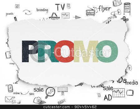 Advertising concept: Promo on Torn Paper background stock photo, Advertising concept: Painted multicolor text Promo on Torn Paper background with Scheme Of Hand Drawn Marketing Icons, 3d render by mkabakov