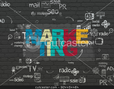 Advertising concept: Marketing on wall background stock photo, Advertising concept: Painted multicolor text Marketing on Black Brick wall background with Scheme Of Hand Drawn Marketing Icons by mkabakov