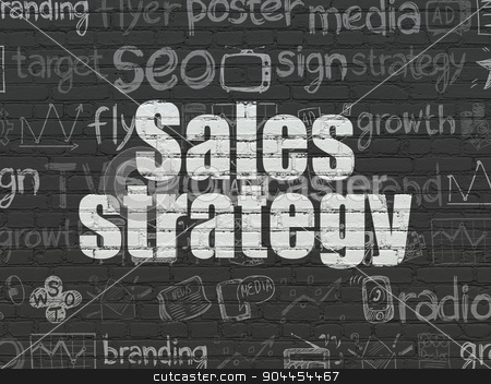 Advertising concept: Sales Strategy on wall background stock photo, Advertising concept: Painted white text Sales Strategy on Black Brick wall background with  Hand Drawn Marketing Icons by mkabakov