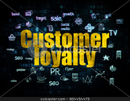 Advertising concept: Customer Loyalty on Digital background stock photo, Advertising concept: Pixelated yellow text Customer Loyalty on Digital background with  Hand Drawn Marketing Icons, 3d render by mkabakov