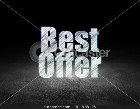 Marketing concept: Best Offer in grunge dark room stock photo, Marketing concept: Glowing text Best Offer in grunge dark room with Dirty Floor, black background by mkabakov