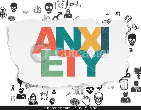 Medicine concept: Anxiety on Torn Paper background stock photo, Medicine concept: Painted multicolor text Anxiety on Torn Paper background with Scheme Of Hand Drawn Medicine Icons, 3d render by mkabakov