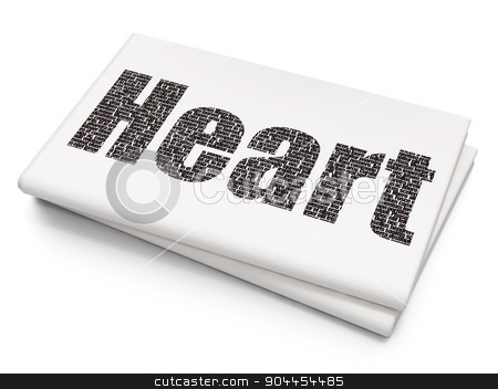 Healthcare concept: Heart on Blank Newspaper background stock photo, Healthcare concept: Pixelated  Heart icon on Blank Newspaper background, 3d render by mkabakov