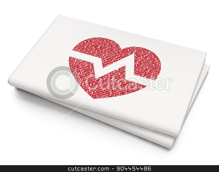 Health concept: Heart on Blank Newspaper background stock photo, Health concept: Pixelated  Heart icon on Blank Newspaper background, 3d render by mkabakov