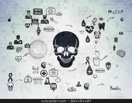 Healthcare concept: Scull on Digital Paper background stock photo, Healthcare concept: Painted black Scull icon on Digital Paper background with Scheme Of Hand Drawn Medicine Icons by mkabakov