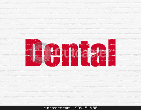 Medicine concept: Dental on wall background stock photo, Medicine concept: Painted red text Dental on White Brick wall background by mkabakov