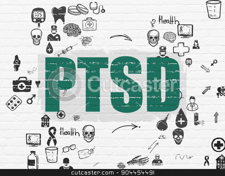 Medicine concept: PTSD on wall background stock photo, Medicine concept: Painted green text PTSD on White Brick wall background with Scheme Of Hand Drawn Medicine Icons by mkabakov