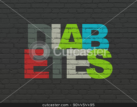 Health concept: Diabetes on wall background stock photo, Health concept: Painted multicolor text Diabetes on Black Brick wall background by mkabakov