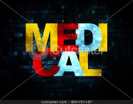 Healthcare concept: Medical on Digital background stock photo, Healthcare concept: Pixelated multicolor text Medical on Digital background, 3d render by mkabakov