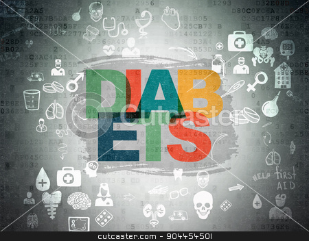 Healthcare concept: Diabets on Digital Paper background stock photo, Healthcare concept: Painted multicolor text Diabets on Digital Paper background with Scheme Of Hand Drawn Medicine Icons by mkabakov