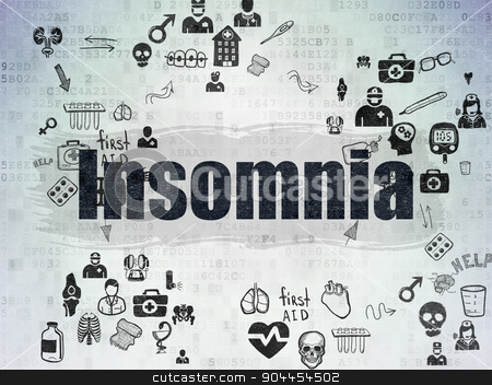 Health concept: Insomnia on Digital Paper background stock photo, Health concept: Painted black text Insomnia on Digital Paper background with Scheme Of Hand Drawn Medicine Icons by mkabakov
