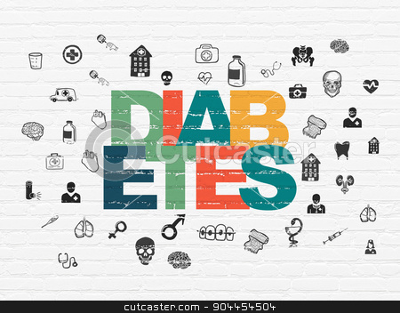 Medicine concept: Diabetes on wall background stock photo, Medicine concept: Painted multicolor text Diabetes on White Brick wall background with  Hand Drawn Medicine Icons by mkabakov