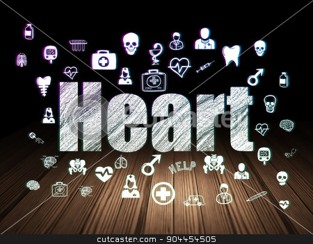 Healthcare concept: Heart in grunge dark room stock photo, Healthcare concept: Glowing text Heart,  Hand Drawn Medicine Icons in grunge dark room with Wooden Floor, black background by mkabakov