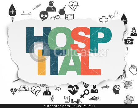 Healthcare concept: Hospital on Torn Paper background stock photo, Healthcare concept: Painted multicolor text Hospital on Torn Paper background with Scheme Of Hand Drawn Medicine Icons, 3d render by mkabakov