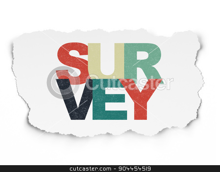 Science concept: Survey on Torn Paper background stock photo, Science concept: Painted multicolor text Survey on Torn Paper background, 3d render by mkabakov