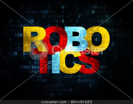 Science concept: Robotics on Digital background stock photo, Science concept: Pixelated multicolor text Robotics on Digital background, 3d render by mkabakov