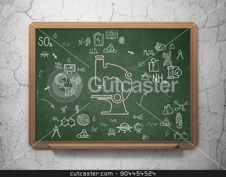 Science concept: Microscope on School Board background stock photo, Science concept: Chalk Pink Microscope icon on School Board background with Scheme Of Hand Drawn Science Icons, 3d render by mkabakov