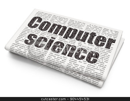 Science concept: Computer Science on Newspaper background stock photo, Science concept: Pixelated  Computer Science icon on Newspaper background, 3d render by mkabakov