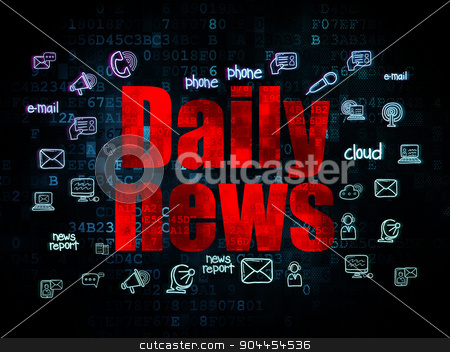 News concept: Daily News on Digital background stock photo, News concept: Pixelated red text Daily News on Digital background with  Hand Drawn News Icons, 3d render by mkabakov