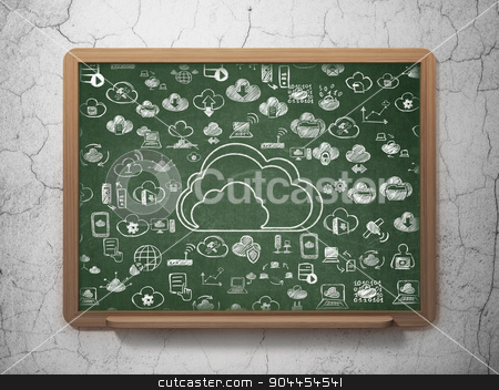 Cloud networking concept: Cloud on School Board background stock photo, Cloud networking concept: Chalk White Cloud icon on School Board background with  Hand Drawn Cloud Technology Icons, 3d render by mkabakov