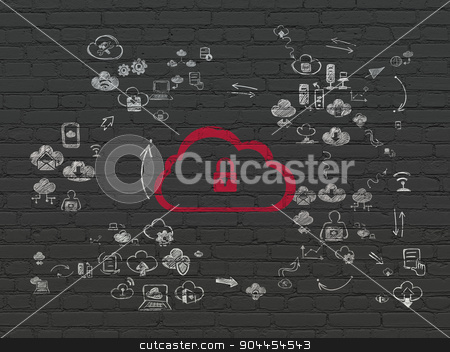 Cloud technology concept: Cloud With Padlock on wall background stock photo, Cloud technology concept: Painted red Cloud With Padlock icon on Black Brick wall background with Scheme Of Hand Drawn Cloud Technology Icons by mkabakov