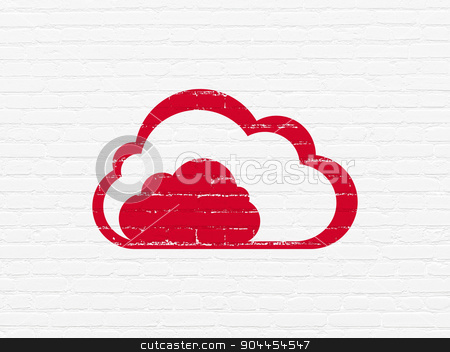 Cloud networking concept: Cloud on wall background stock photo, Cloud networking concept: Painted red Cloud icon on White Brick wall background by mkabakov