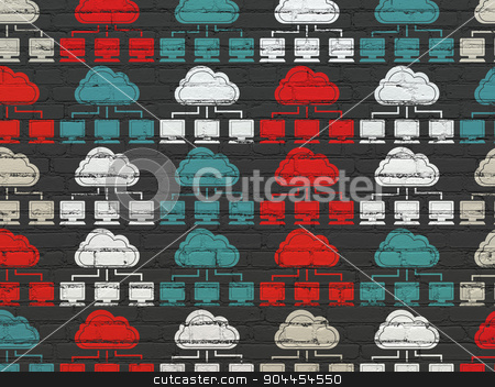 Cloud computing concept: Cloud Network icons on wall background stock photo, Cloud computing concept: Painted multicolor Cloud Network icons on Black Brick wall background by mkabakov