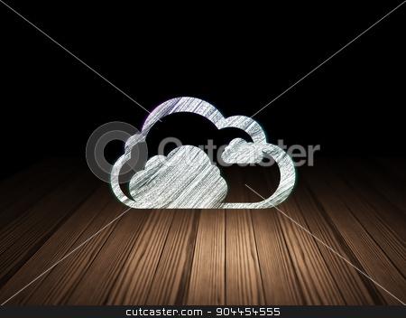 Cloud networking concept: Cloud in grunge dark room stock photo, Cloud networking concept: Glowing Cloud icon in grunge dark room with Wooden Floor, black background by mkabakov