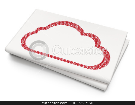 Cloud networking concept: Cloud on Blank Newspaper background stock photo, Cloud networking concept: Pixelated  Cloud icon on Blank Newspaper background, 3d render by mkabakov