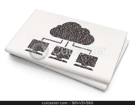 Cloud computing concept: Cloud Network on Blank Newspaper background stock photo, Cloud computing concept: Pixelated  Cloud Network icon on Blank Newspaper background, 3d render by mkabakov