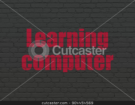 Education concept: Learning Computer on wall background stock photo, Education concept: Painted red text Learning Computer on Black Brick wall background by mkabakov