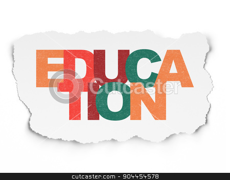 Education concept: Education on Torn Paper background stock photo, Education concept: Painted multicolor text Education on Torn Paper background, 3d render by mkabakov