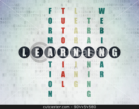 Learning concept: word Learning in solving Crossword Puzzle stock photo, Learning concept: Painted black word Learning in solving Crossword Puzzle on Digital Paper background by mkabakov
