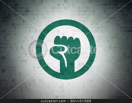 Politics concept: Uprising on Digital Paper background stock photo, Politics concept: Painted green Uprising icon on Digital Paper background by mkabakov
