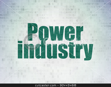 Industry concept: Power Industry on Digital Paper background stock photo, Industry concept: Painted green word Power Industry on Digital Paper background by mkabakov