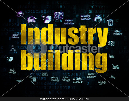 Industry concept: Industry Building on Digital background stock photo, Industry concept: Pixelated yellow text Industry Building on Digital background with  Hand Drawn Industry Icons, 3d render by mkabakov