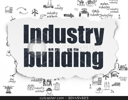 Industry concept: Industry Building on Torn Paper background stock photo, Industry concept: Painted black text Industry Building on Torn Paper background with Scheme Of Hand Drawn Industry Icons, 3d render by mkabakov