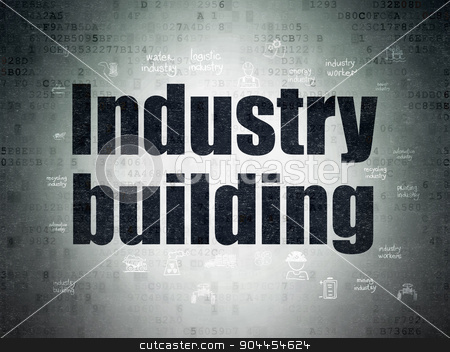 Industry concept: Industry Building on Digital Paper background stock photo, Industry concept: Painted black text Industry Building on Digital Paper background with  Hand Drawn Industry Icons by mkabakov