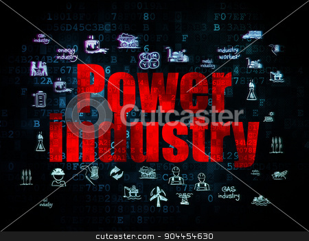 Industry concept: Power Industry on Digital background stock photo, Industry concept: Pixelated red text Power Industry on Digital background with  Hand Drawn Industry Icons, 3d render by mkabakov