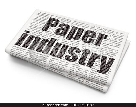 Manufacuring concept: Paper Industry on Newspaper background stock photo, Manufacuring concept: Pixelated  Paper Industry icon on Newspaper background, 3d render by mkabakov
