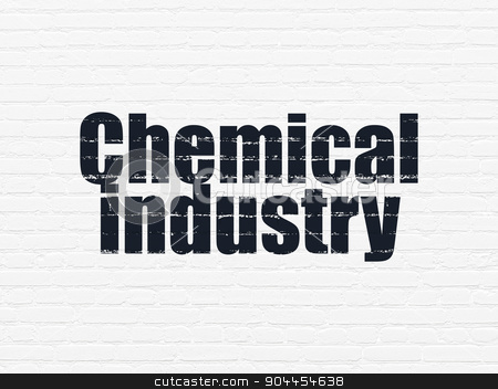 Manufacuring concept: Chemical Industry on wall background stock photo, Manufacuring concept: Painted black text Chemical Industry on White Brick wall background by mkabakov